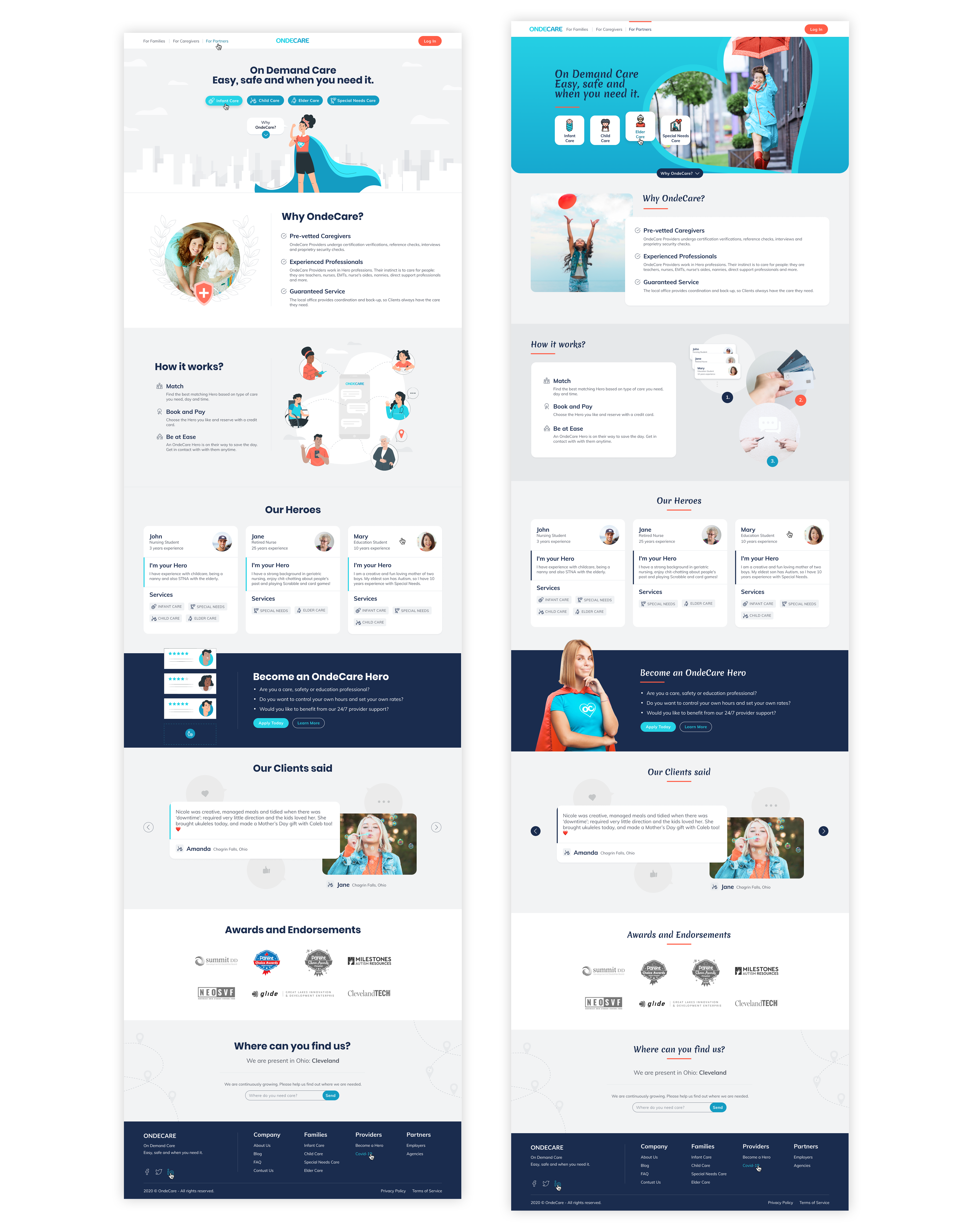 OndeCare landing page versions