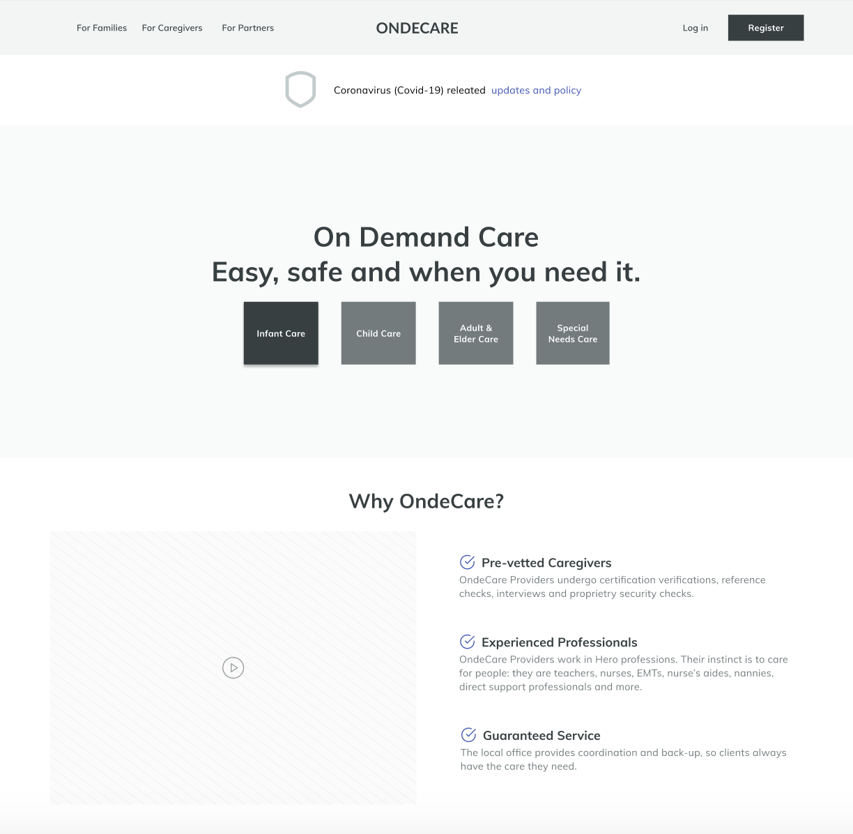 OndeCare home page wireframe